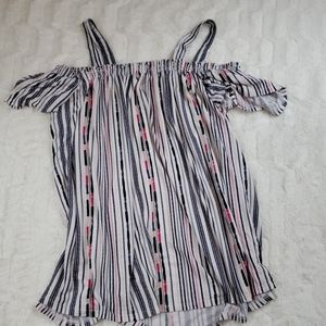 💫Cold Shoulder Striped Shirt with Straps💫